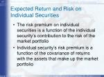 expected return and risk on individual securities