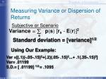 measuring variance or dispersion of returns