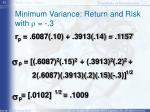 minimum variance return and risk with r 3