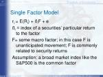 single factor model
