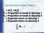 two security portfolio return