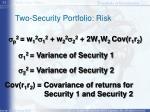 two security portfolio risk