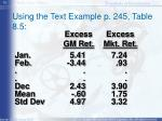 using the text example p 245 table 8 5