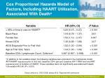 cox proportional hazards model of factors including haart utilization associated with death a