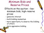 minimum bids and reserve prices17