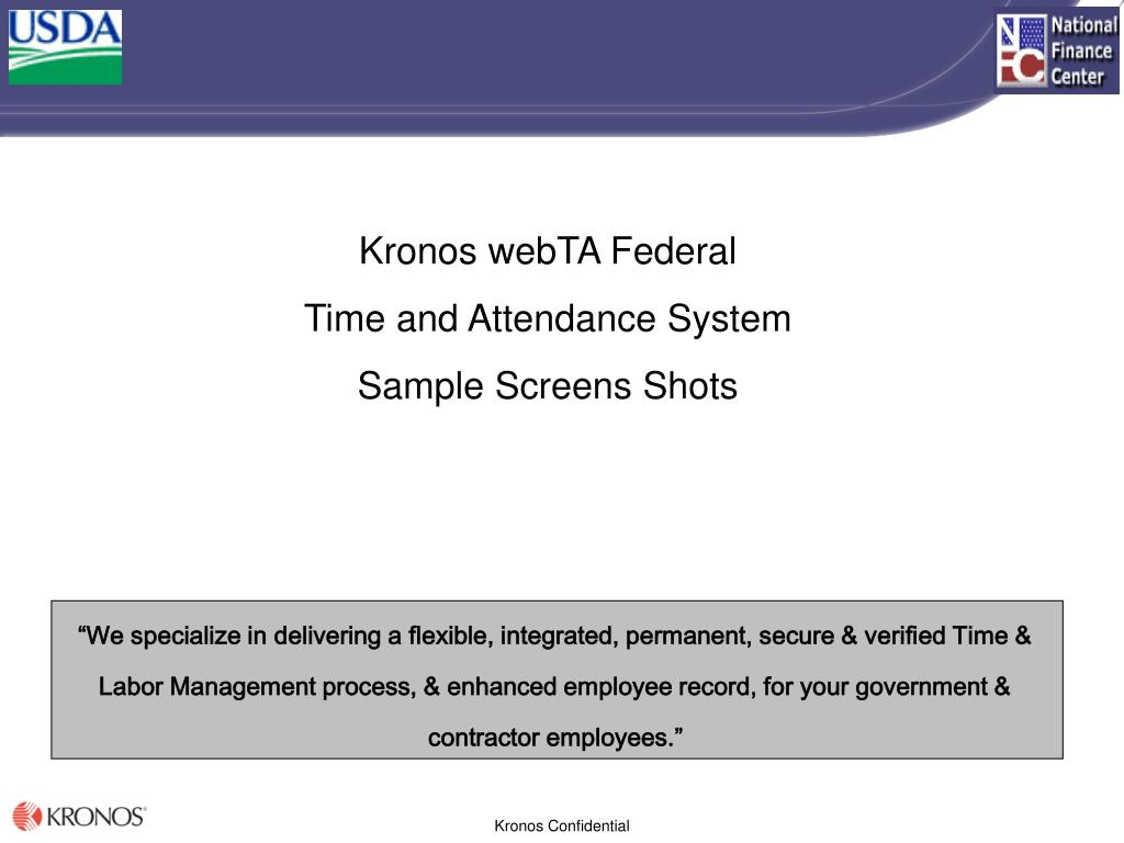 kronos webta federal time and attendance system sample screens shots l.