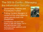 the 500 lb gorilla managing the information security