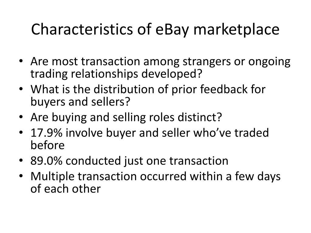 Characteristics of eBay marketplace