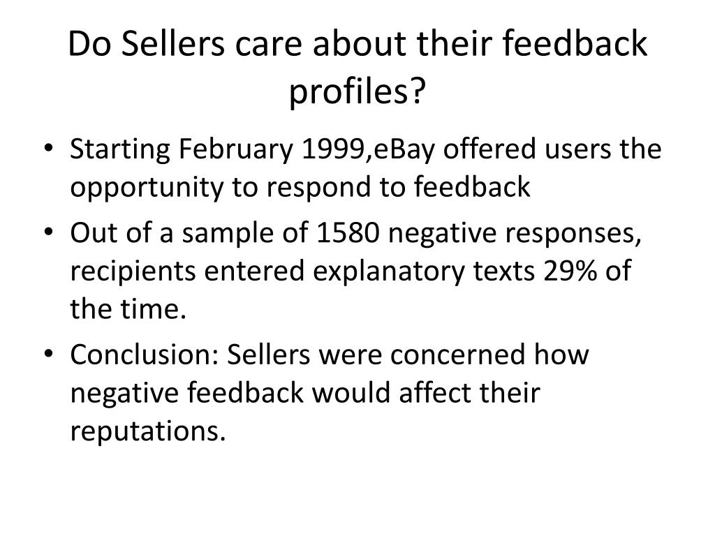 Do Sellers care about their feedback profiles?