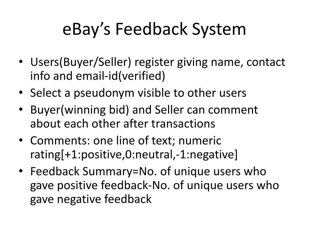 eBay's Feedback System