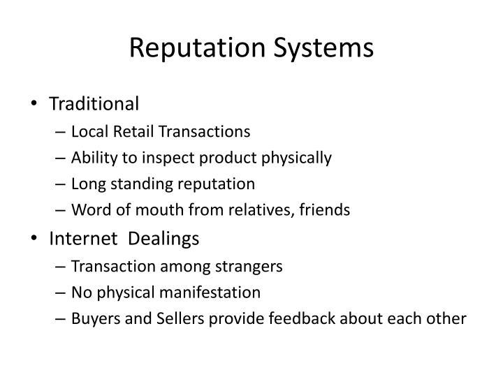 Reputation systems