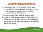 determining experience