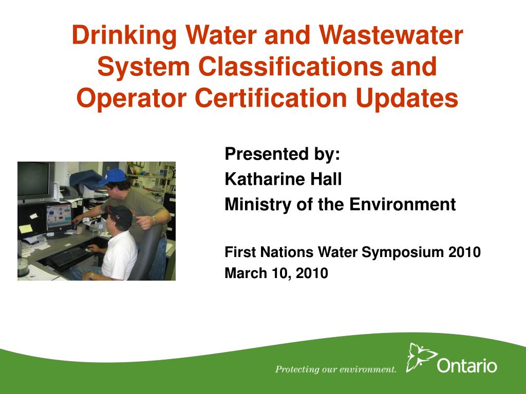 drinking water and wastewater system classifications and operator certification updates l.