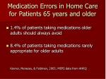 medication errors in home care for patients 65 years and older