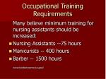 occupational training requirements