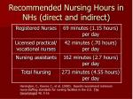 recommended nursing hours in nhs direct and indirect