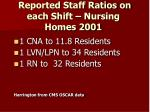 reported staff ratios on each shift nursing homes 2001