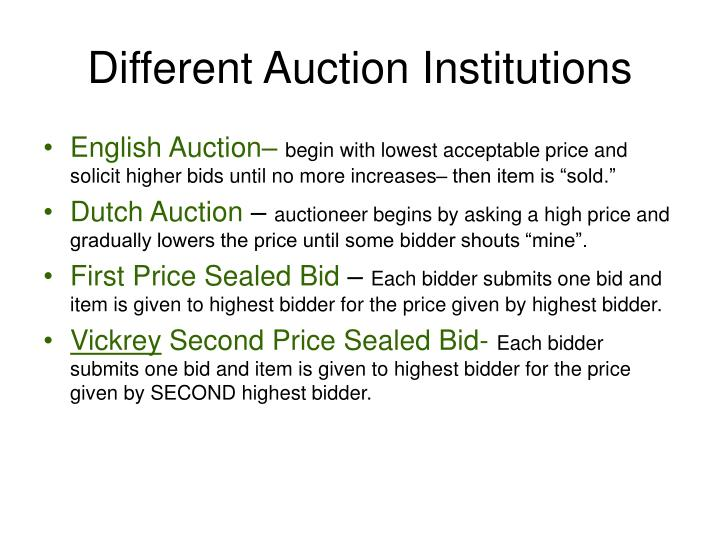 Different auction institutions