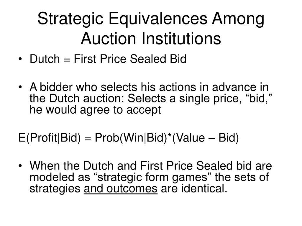 Strategic Equivalences Among Auction Institutions