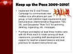 keep up the pace 2009 20108