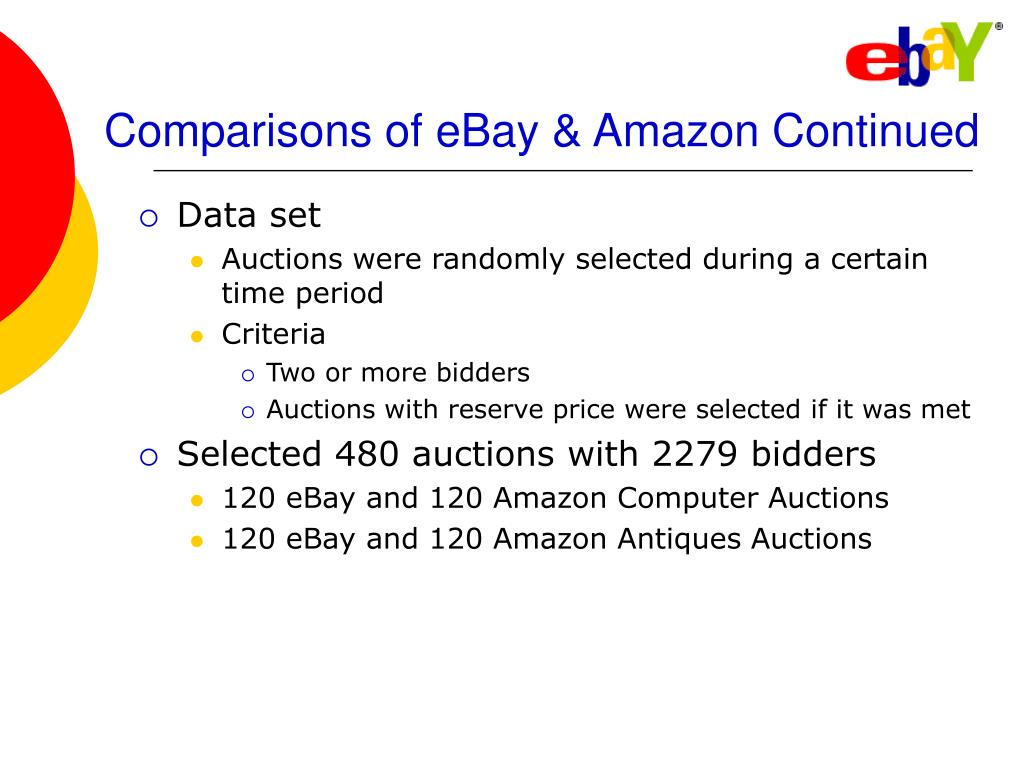 Comparisons of eBay & Amazon Continued