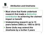 attribution and timeframe