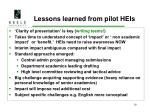 lessons learned from pilot heis