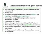 lessons learned from pilot panels