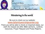 ministering to the world