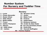 number system for nursery and toddler time