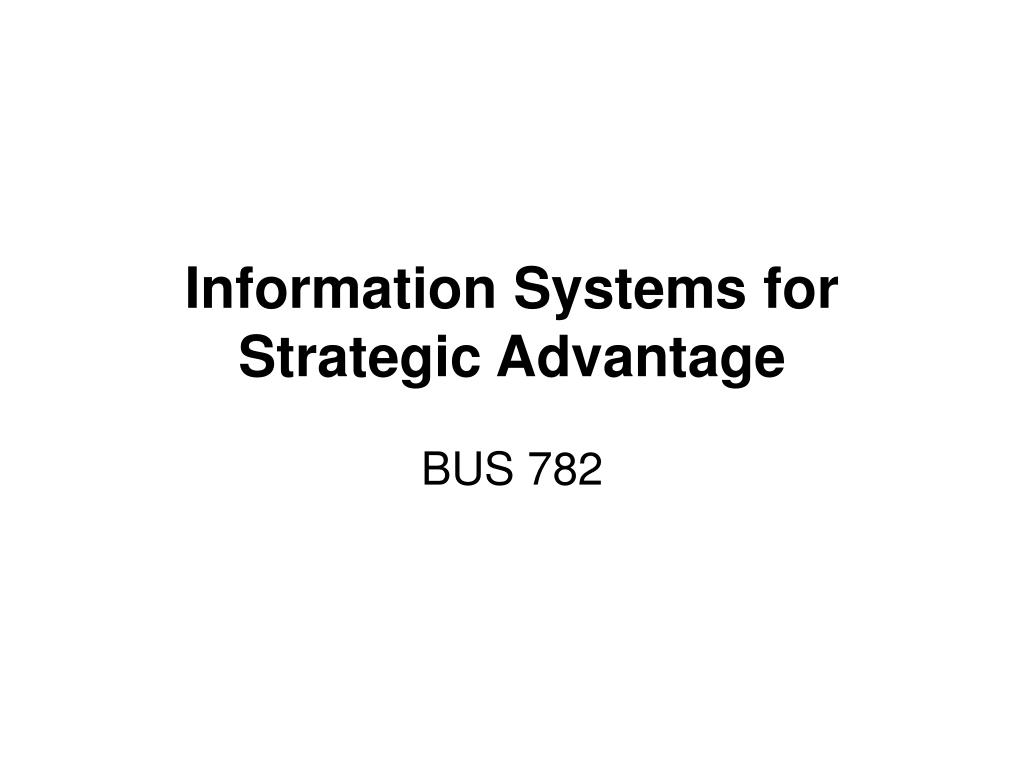 information systems for strategic advantage l.