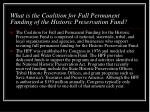 what is the coalition for full permanent funding of the historic preservation fund