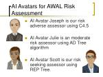 ai avatars for awal risk assessment