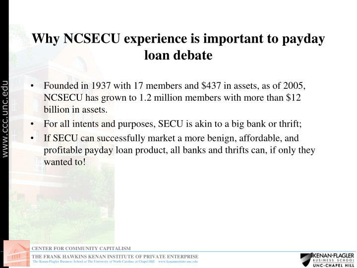 Why ncsecu experience is important to payday loan debate