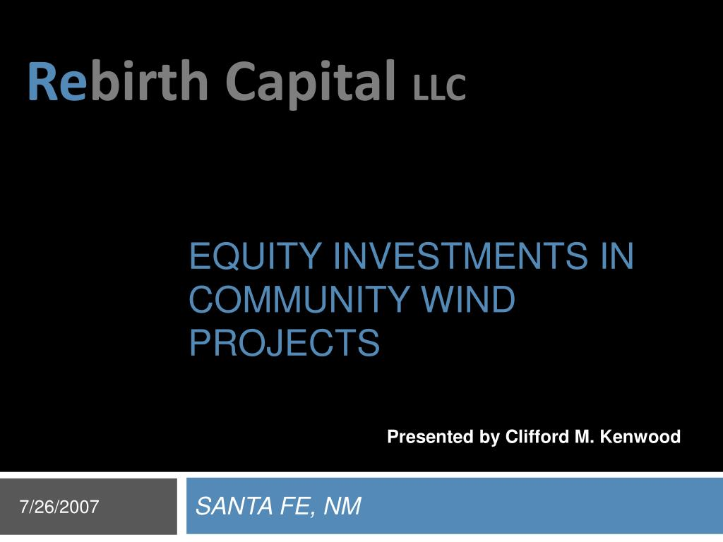 equity investments in community wind projects l.