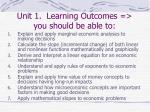 unit 1 learning outcomes you should be able to