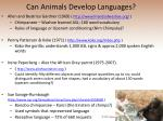 can animals develop languages