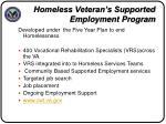 homeless veteran s supported employment program