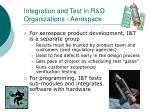 integration and test in r d organizations aerospace