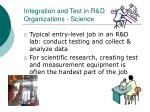 integration and test in r d organizations science