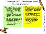 kilpatrick 1921 identificaba cuatro tipos de proyectos