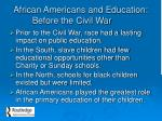 african americans and education before the civil war