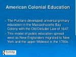 american colonial education