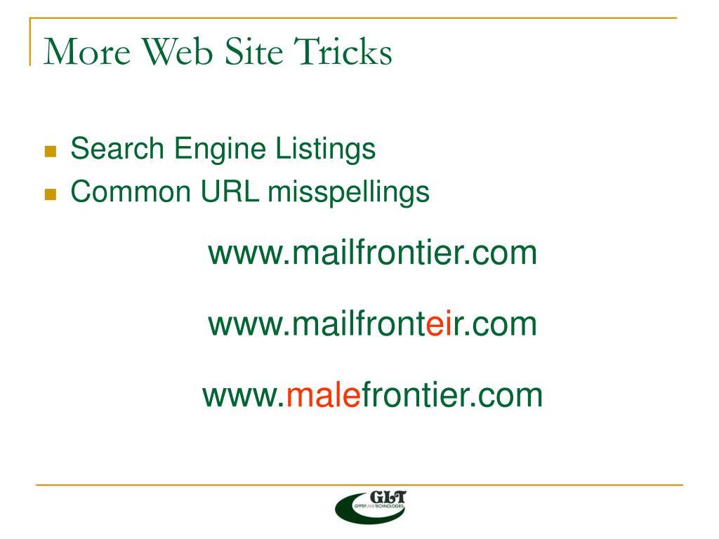 More Web Site Tricks