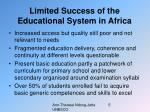 limited success of the educational system in africa