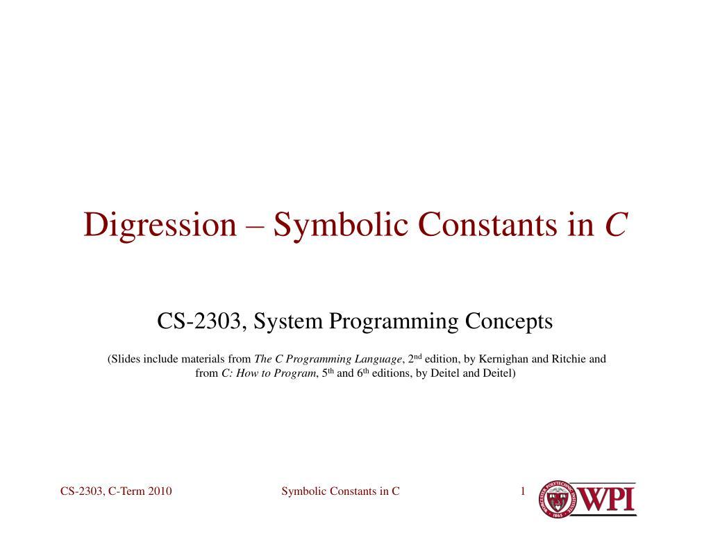 digression symbolic constants in c l.