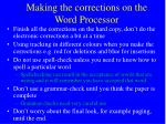 making the corrections on the word processor