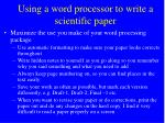 using a word processor to write a scientific paper