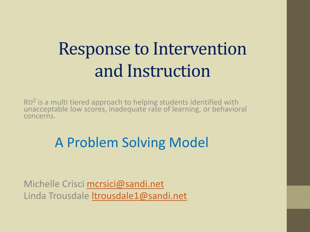 response to intervention and instruction l.