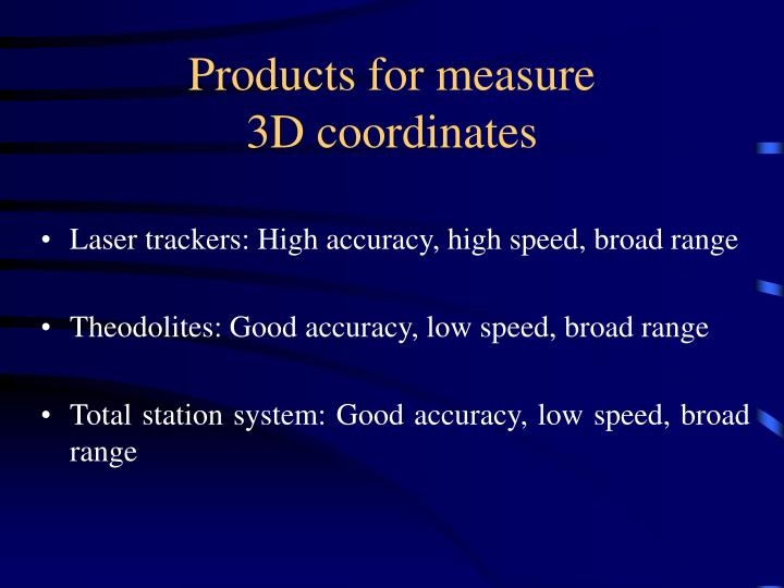 Products for measure 3d coordinates